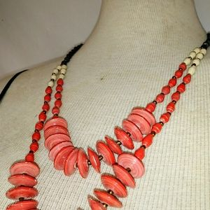 TENG YUE Coral Paper Bead Necklace